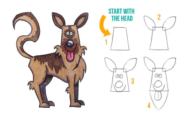 How To Draw A Cartoon German Shepherd Discover Cartooning Discover Cartooning