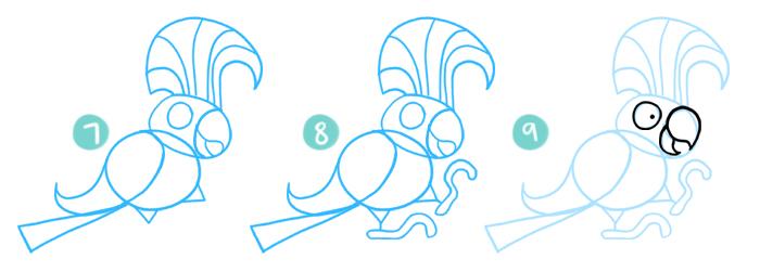 How To Draw A Cartoon Cockatoo Steps 7 - 9