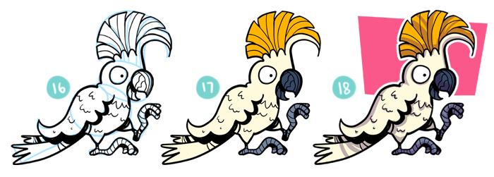 How To Draw A Cartoon Cockatoo Steps 16- 18
