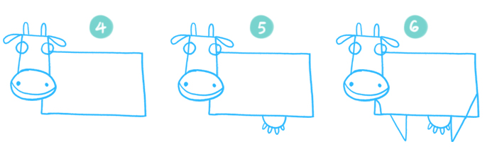 How to Draw A Cartoon Cow Steps 4 to 6