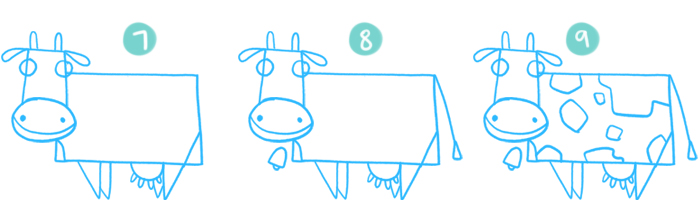 How to Draw A Cartoon Cow Steps 7 to 9