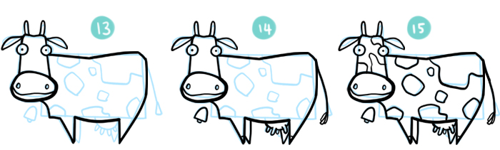 How to Draw A Cartoon Cow Steps 13 to 15