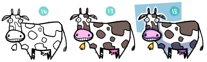 How to Draw A Cartoon Cow Steps 16 to 18