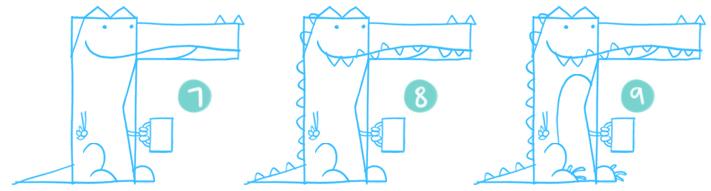 How To Draw A Cartoon Crocodile Step 07 - 09
