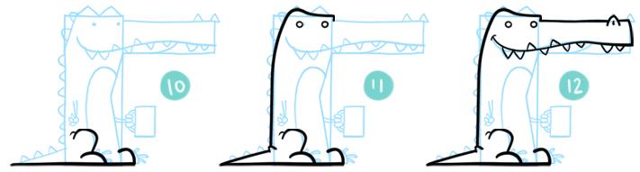 How To Draw A Cartoon Crocodile Step 10 - 12