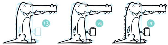 How To Draw A Cartoon Crocodile Step 13 - 15