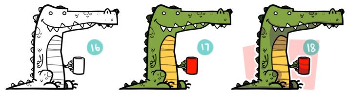How To Draw A Cartoon Crocodile Step 16 - 18