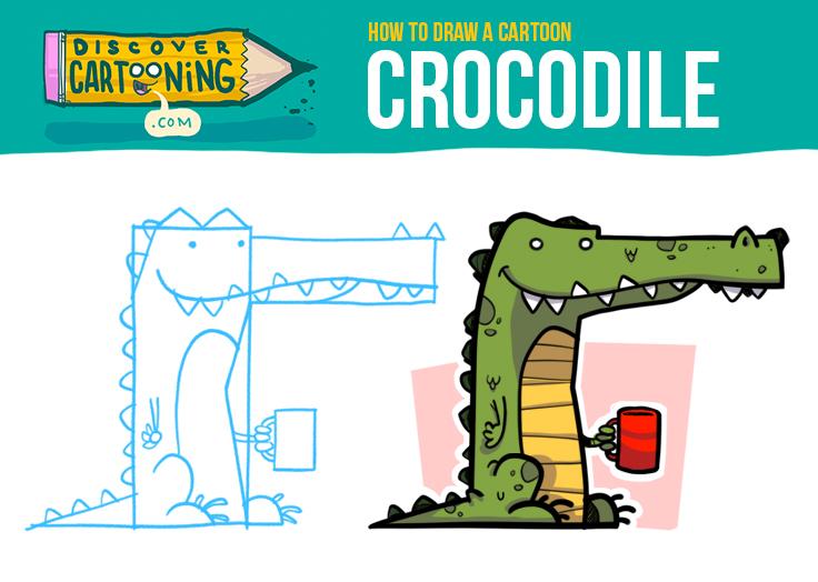 How To Draw A Cartoon Crocodile Top