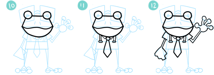 How To Draw A Cartoon Frog Steps 10 - 12