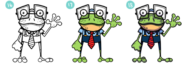 How To Draw A Cartoon Frog Steps 16 - 18