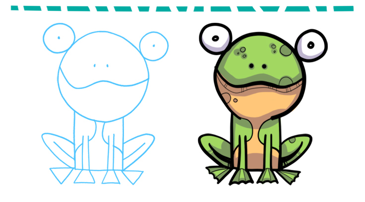How To Draw A Simple Cartoon Frog Top