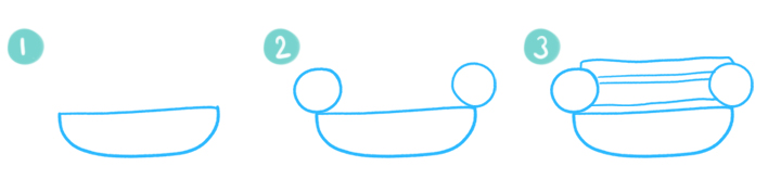 How To Draw A Cartoon Hamburger Step 01 - 03