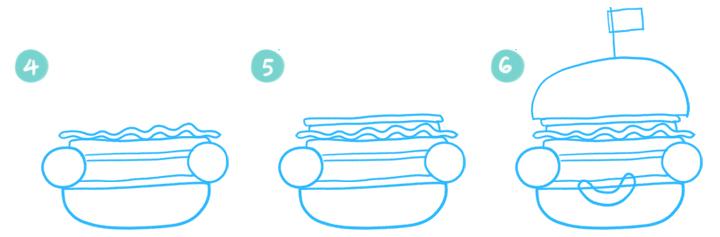 How To Draw A Cartoon Hamburger Step 04 - 06