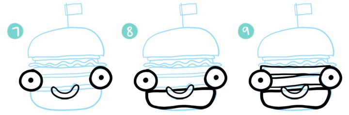 How To Draw A Cartoon Hamburger Step 07 - 09