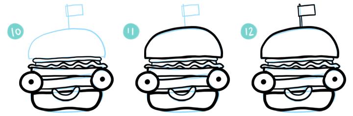 How To Draw A Cartoon Hamburger Step 10 - 12