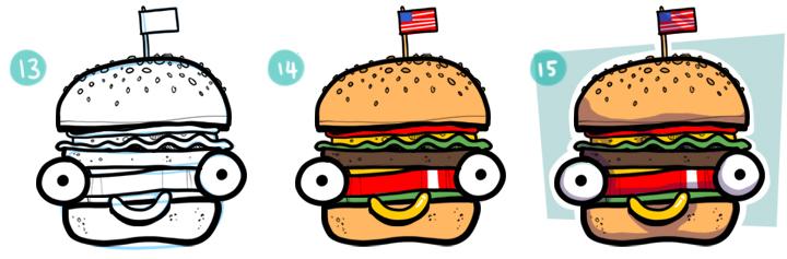 How To Draw A Cartoon Hamburger Step 13 - 15