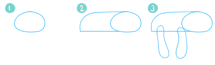 How To Draw A Cartoon Sloth Step 01 - 03