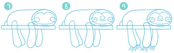 How To Draw A Cartoon Sloth Step 07 - 09