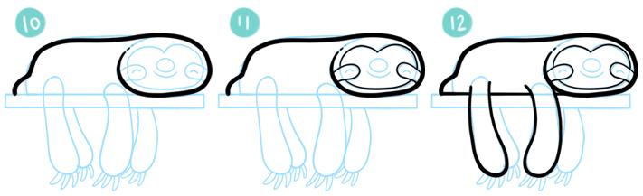 How To Draw A Cartoon Sloth Step 10 - 12