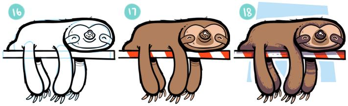 How To Draw A Cartoon Sloth Step 16- 18