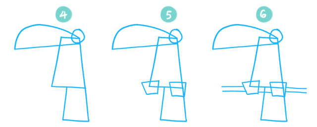 How To Draw A Cartoon Toucan Steps 4 to 6