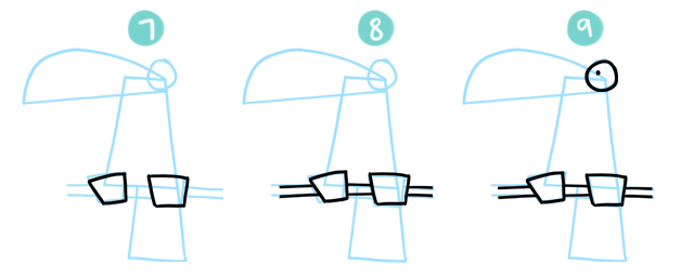 How To Draw A Cartoon Toucan Steps 7 to 9
