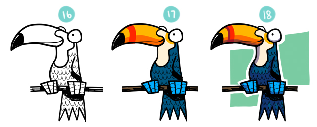 How To Draw A Cartoon Toucan Steps 16 - 18