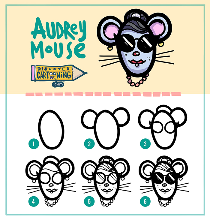 04Audrey Cartooning step by step